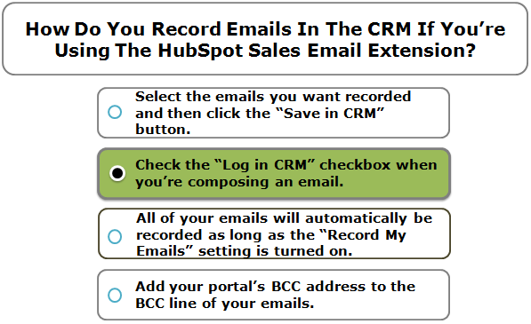 How Do You Record Emails In The CRM If You're Using The HubSpot Sales Email Extension?