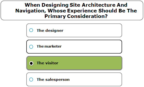 When Designing Site Architecture And Navigation, Whose Experience Should Be The Primary Consideration?