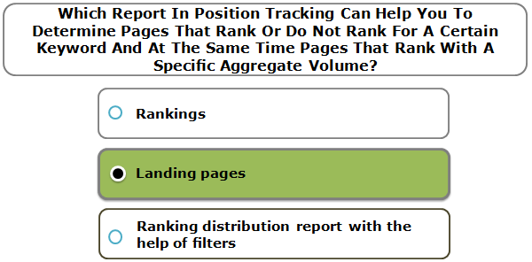 Which Report In Position Tracking Can Help You To Determine Pages That Rank Or Do Not Rank For A Certain Keyword And At The Same Time Pages That Rank With A Specific Aggregate Volume?
