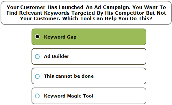 Your Customer Has Launched An Ad Campaign. You Want To Find Relevant Keywords Targeted By His Competitor But Not Your Customer. Which Tool Can Help You Do This?