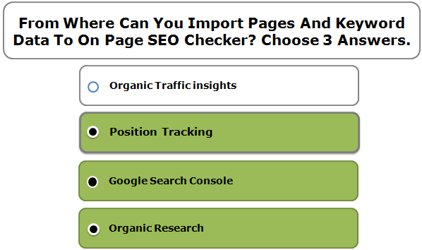 From Where Can You Import Pages And Keyword Data To On Page SEO Checker? Choose 3 Answers.