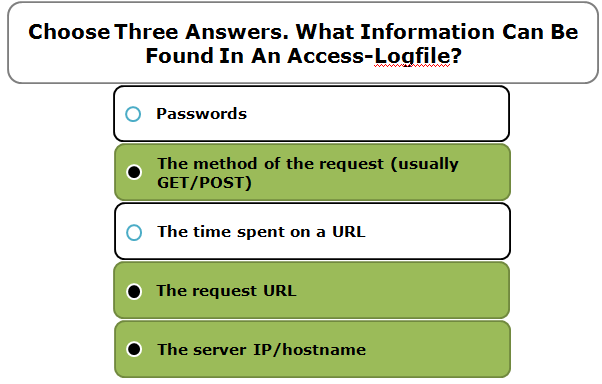 Choose Three Answers. What Information Can Be Found In An Access-Logfile?
