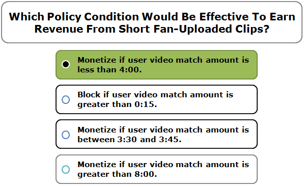 Which Policy Condition Would Be Effective To Earn Revenue From Short Fan-Uploaded Clips?