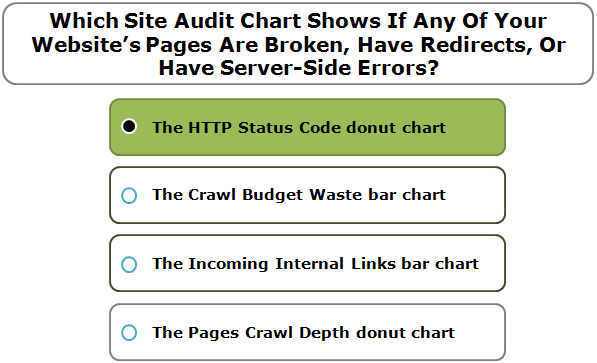 Which Site Audit Chart Shows If Any Of Your Website's Pages Are Broken, Have Redirects, Or Have Server-Side Errors?