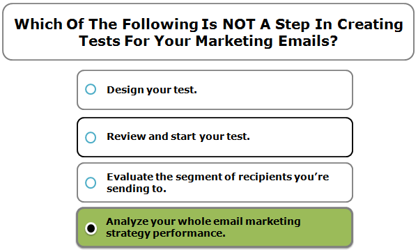 Which Of The Following Is NOT A Step In Creating Tests For Your Marketing Emails?