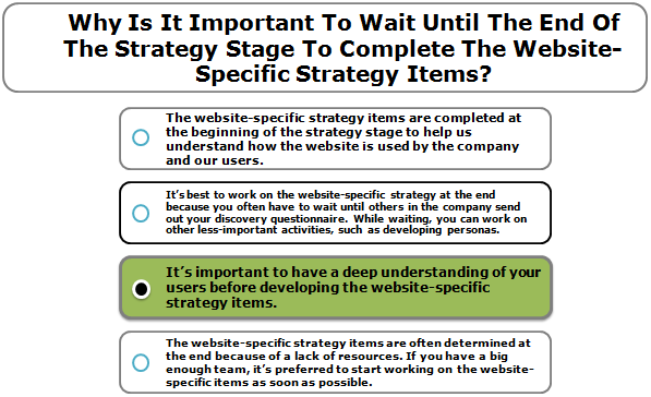 Why Is It Important To Wait Until The End Of The Strategy Stage To Complete The Website-Specific Strategy Items?