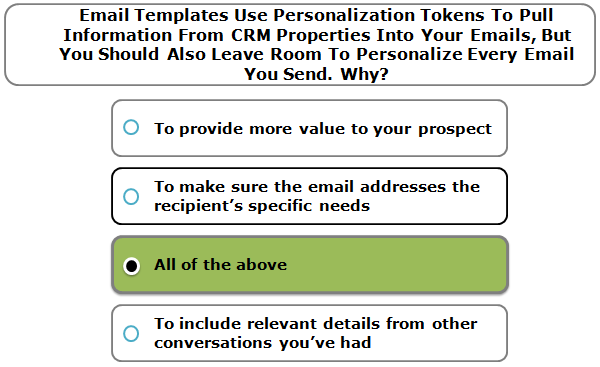 Email templates use personalization tokens to pull information from CRM properties into your emails, but you should also leave room to personalize every email you send. Why?