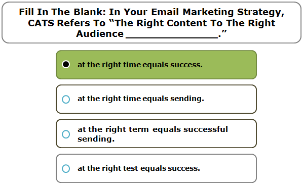"""Fill in the blank: In your email marketing strategy, CATS refers to """"the right content to the right audience ______________."""""""