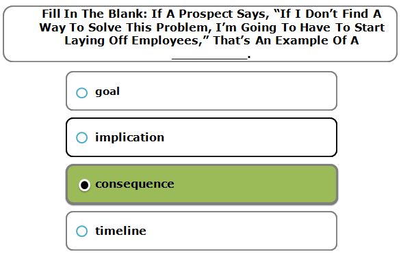 """Fill in the blank. If a prospect says, """"If I don't find a way to solve this problem, I'm going to have to start laying off employees,"""" that's an example of a __________."""