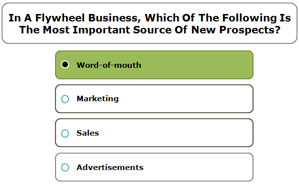 In a flywheel business, which of the following is the most important source of new prospects?
