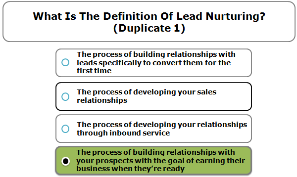 What is the definition of lead nurturing?