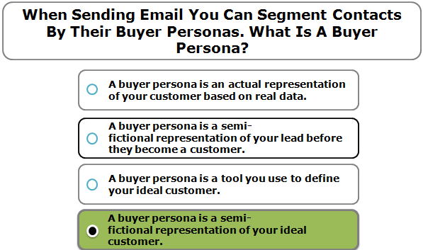 When sending email you can segment contacts by their buyer personas. What is a buyer persona?