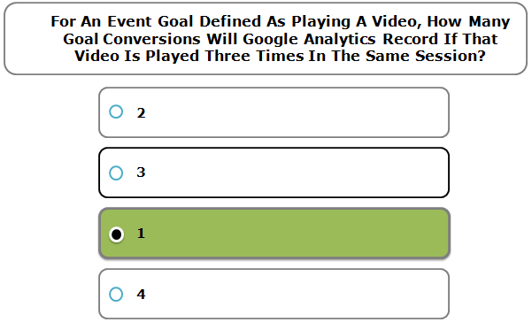 For An Event Goal Defined As Playing A Video, How Many Goal Conversions Will Google Analytics Record If That Video Is Played Three Times In The Same Session?