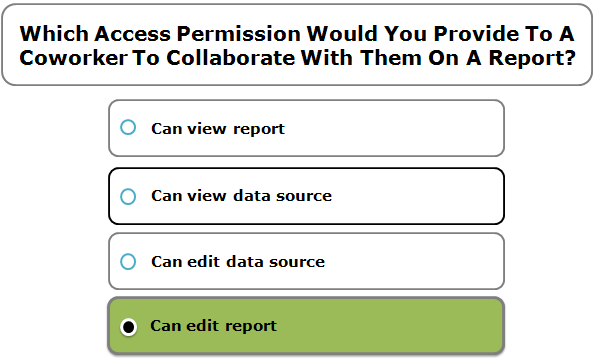 Which Access Permission Would You Provide To A Coworker To Collaborate With Them On A Report?