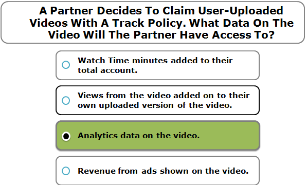 A Partner Decides To Claim User-Uploaded Videos With A Track Policy. What Data On The Video Will The Partner Have Access To?