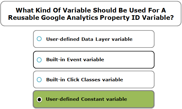 What Kind Of Variable Should Be Used For A Reusable Google Analytics Property ID Variable?