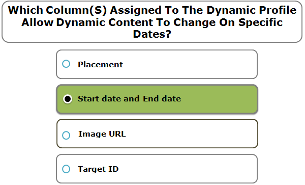 Which Column(S) Assigned To The Dynamic Profile Allow Dynamic Content To Change On Specific Dates?