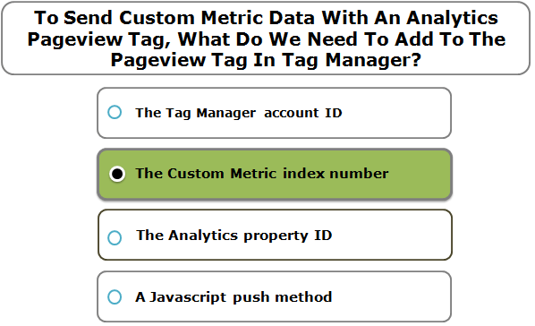 To Send Custom Metric Data With An Analytics Pageview Tag, What Do We Need To Add To The Pageview Tag In Tag Manager?