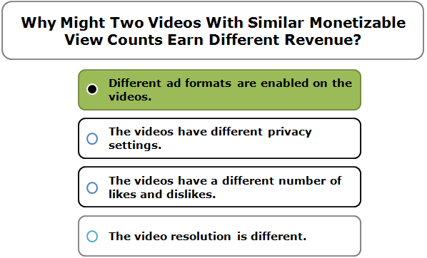 Why Might Two Videos With Similar Monetizable View Counts Earn Different Revenue?