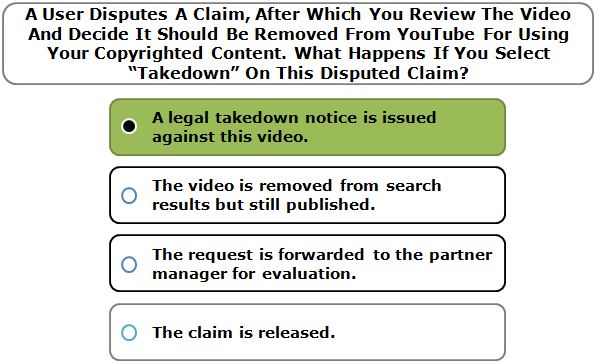 """A User Disputes A Claim, After Which You Review The Video And Decide It Should Be Removed From YouTube For Using Your Copyrighted Content. What Happens If You Select """"Takedown"""" On This Disputed Claim?"""
