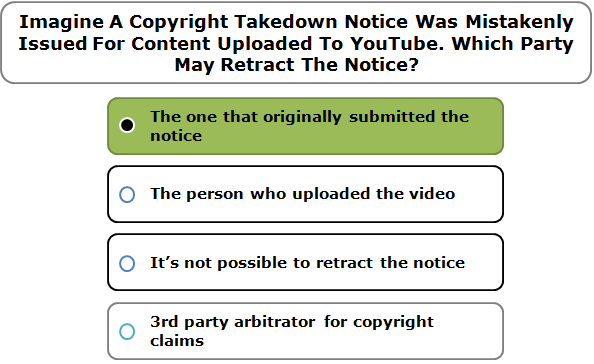 Imagine A Copyright Takedown Notice Was Mistakenly Issued For Content Uploaded To YouTube. Which Party May Retract The Notice?