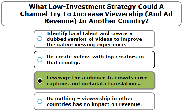What Low-Investment Strategy Could A Channel Try To Increase Viewership (And Ad Revenue) In Another Country?