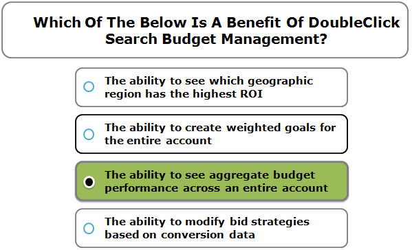 Which Of The Below Is A Benefit Of DoubleClick Search Budget Management?