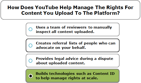 How Does YouTube Help Manage The Rights For Content You Upload To The Platform?