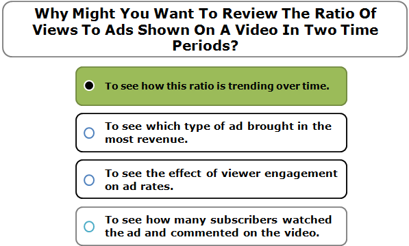 Why Might You Want To Review The Ratio Of Views To Ads Shown On A Video In Two Time Periods?