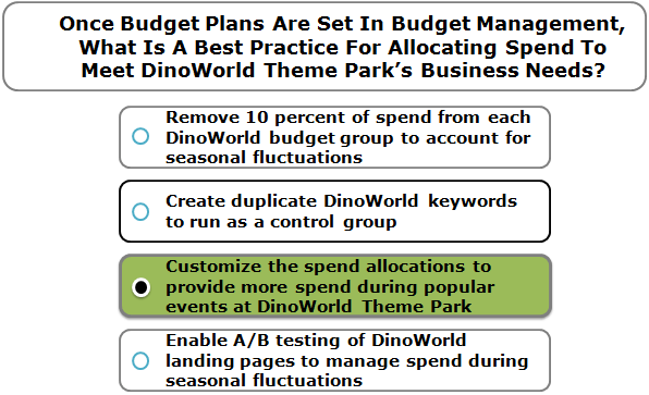 Once Budget Plans Are Set In Budget Management, What Is A Best Practice For Allocating Spend To Meet DinoWorld Theme Park's Business Needs?