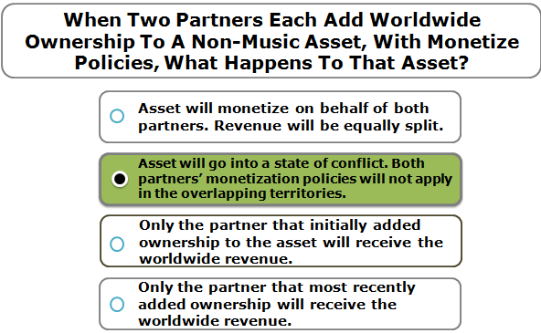 When Two Partners Each Add Worldwide Ownership To A Non-Music Asset, With Monetize Policies, What Happens To That Asset?