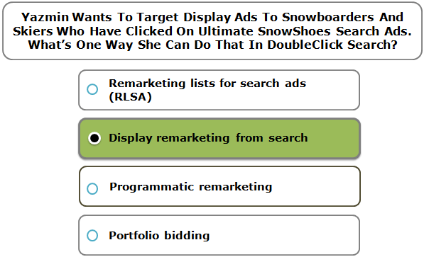 Yazmin Wants To Target Display Ads To Snowboarders And Skiers Who Have Clicked On Ultimate SnowShoes Search Ads. What's One Way She Can Do That In DoubleClick Search?