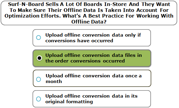 Surf-N-Board Sells A Lot Of Boards In-Store And They Want To Make Sure Their Offline Data Is Taken Into Account For Optimization Efforts. What's A Best Practice For Working With Offline Data?