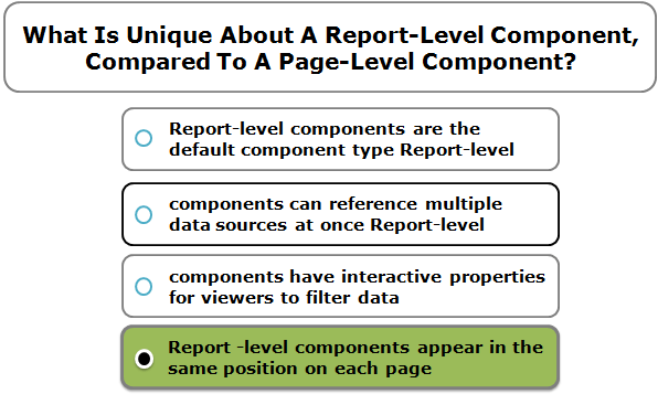 What Is Unique About A Report-Level Component, Compared To A Page-Level Component?