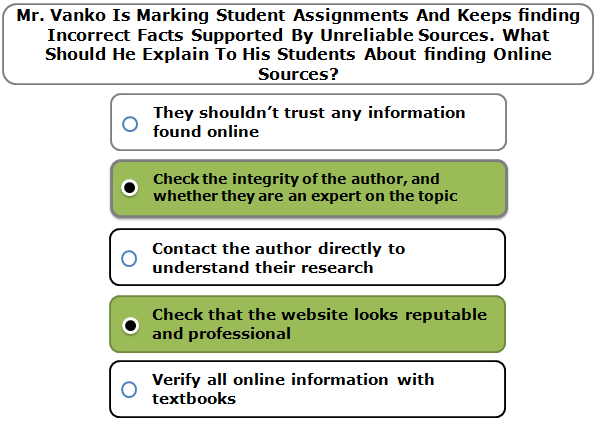 Mr. Vanko Is Marking Student Assignments And Keeps finding Incorrect Facts Supported By Unreliable Sources. What Should He Explain To His Students About finding Online Sources?