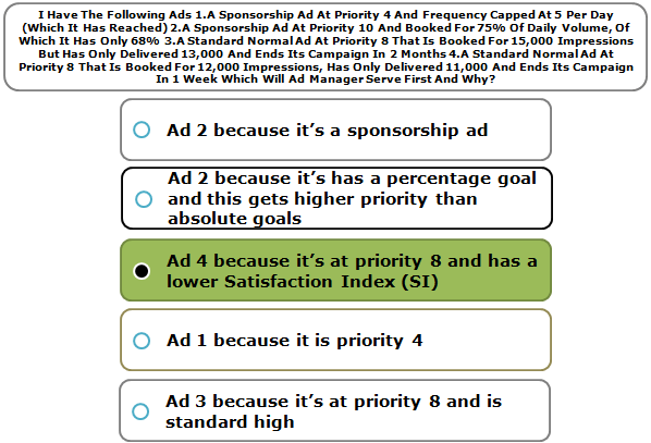 I Have The Following Ads 1.A Sponsorship Ad At Priority 4 And Frequency Capped At 5 Per Day (Which It Has Reached) 2.A Sponsorship Ad At Priority 10 And Booked For 75% Of Daily Volume, Of Which It Has Only 68% 3.A Standard Normal Ad At Priority 8 That Is Booked For 15,000 Impressions But Has Only Delivered 13,000 And Ends Its Campaign In 2 Months 4.A Standard Normal Ad At Priority 8 That Is Booked For 12,000 Impressions, Has Only Delivered 11,000 And Ends Its Campaign In 1 Week Which Will Ad Manager Serve First And Why?