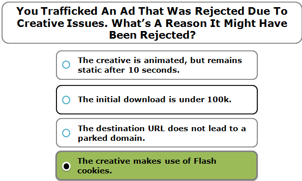 You Trafficked An Ad That Was Rejected Due To Creative Issues. What's A Reason It Might Have Been Rejected?