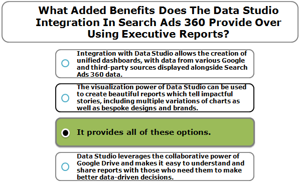 What Added Benefits Does The Data Studio Integration In Search Ads 360 Provide Over Using Executive Reports?