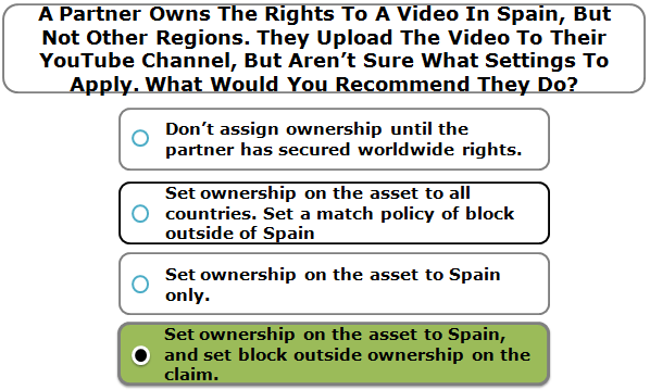 A Partner Owns The Rights To A Video In Spain, But Not Other Regions. They Upload The Video To Their YouTube Channel, But Aren't Sure What Settings To Apply. What Would You Recommend They Do?