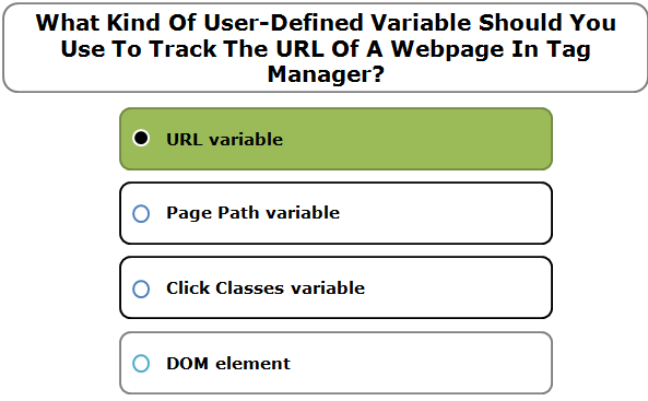 What Kind Of User-Defined Variable Should You Use To Track The URL Of A Webpage In Tag Manager?