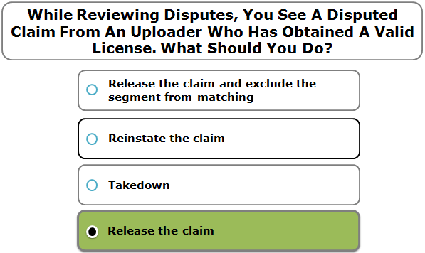 While Reviewing Disputes, You See A Disputed Claim From An Uploader Who Has Obtained A Valid License. What Should You Do?