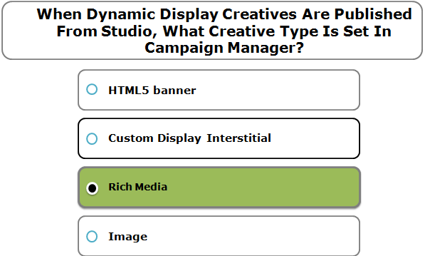 When Dynamic Display Creatives Are Published From Studio, What Creative Type Is Set In Campaign Manager?