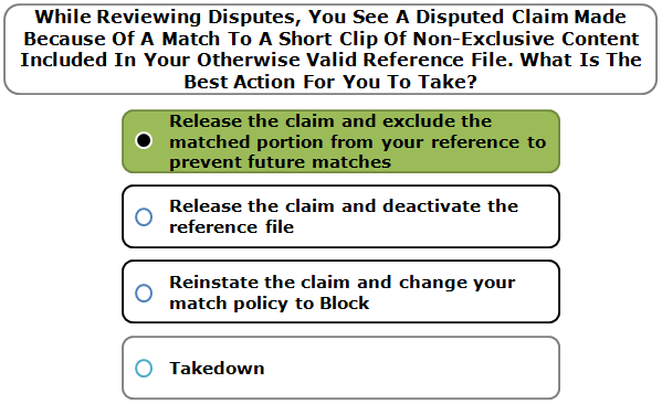 While Reviewing Disputes, You See A Disputed Claim Made Because Of A Match To A Short Clip Of Non-Exclusive Content Included In Your Otherwise Valid Reference File. What Is The Best Action For You To Take?