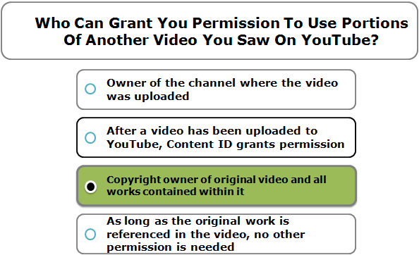 Who Can Grant You Permission To Use Portions Of Another Video You Saw On YouTube?