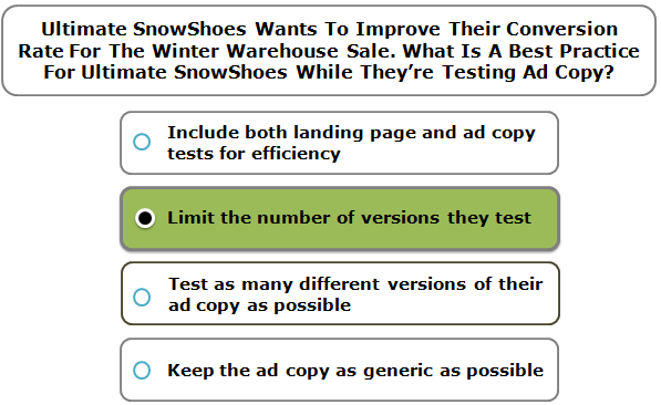 Ultimate SnowShoes wants to improve their conversion rate for the Winter Warehouse sale. What is a best practice for Ultimate SnowShoes while they're testing ad copy?