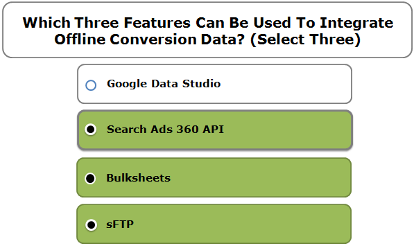 Which Three Features Can Be Used To Integrate Offline Conversion Data? (Select Three)