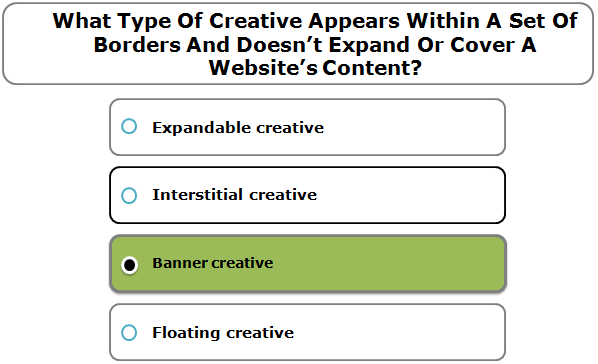 What Type Of Creative Appears Within A Set Of Borders And Doesn't Expand Or Cover A Website's Content?