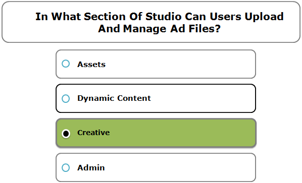 In What Section Of Studio Can Users Upload And Manage Ad Files?