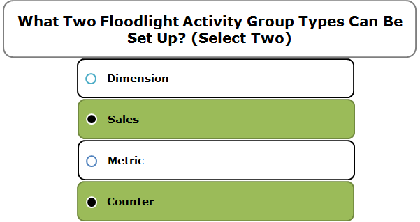What Two Floodlight Activity Group Types Can Be Set Up? (Select Two)