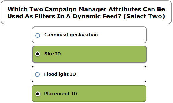 Which Two Campaign Manager Attributes Can Be Used As Filters In A Dynamic Feed? (Select Two)